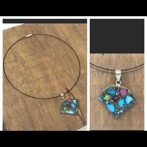 Boho Necklace Sterling Turquoise Pendant .925